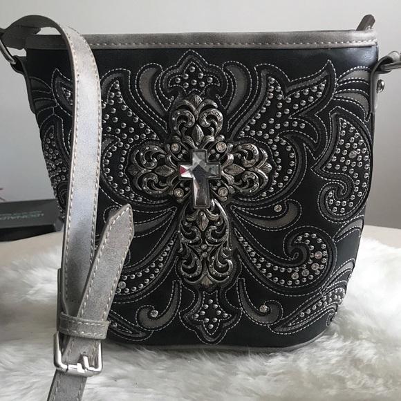 MONTANA WEST  Spiritual Collection Turq//Gray Crossbody Bag   NWT